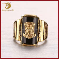 Custom Made High Quality Gold Plating 316L Stainless Steel Rhinestone Lion Head Ring