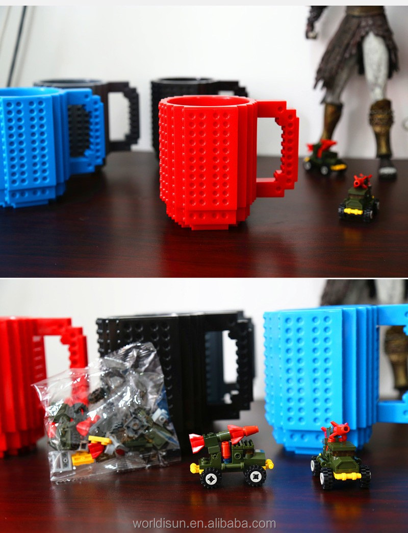 Build-On Brick Mug Lego Type Building Blocks Coffee Cup DIY Block Puzzle Mug 12oz 350 ml Coffee Tea Beverage Mug Cup