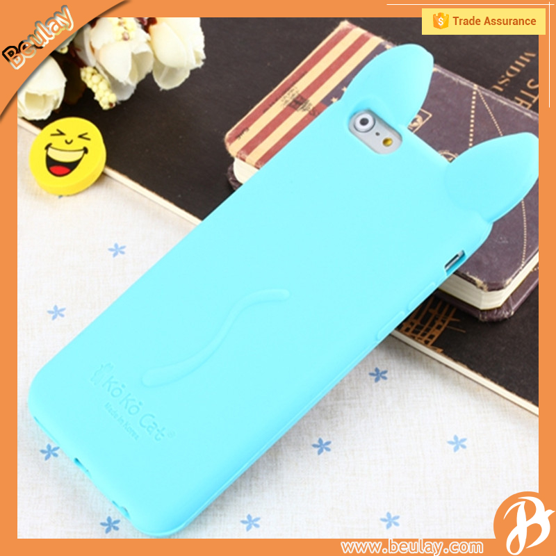 Mobile phone accessories factory in china 3D big ear koko cat case for iphone 6s