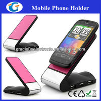 Anti-slip pad phone holder with 3 ports usb hub and card reader