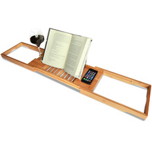 Bamboo Bathtub Caddy with Extending Sides and Adjustable Book Holder by ToiletTree Products Bamboo Tray Wine Rack Book Stand