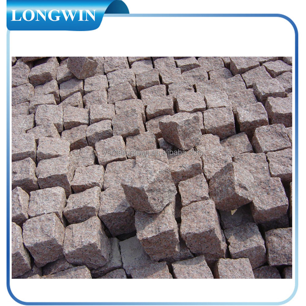 cheap red granite cube stone for pavement
