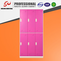 Haolong Brand Customized colorful 3 wide 6 door steel locker cabinet for gym locker