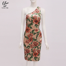 Chinese Design Floral Print One Shoulder One-Piece Evening Dress Beautiful Lady Fashion Dress