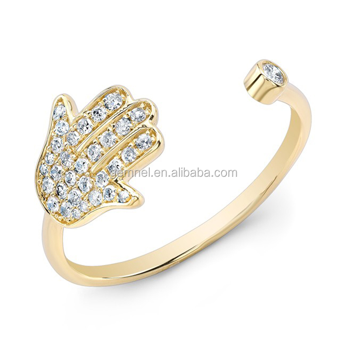Gemnel Jewelry ajdustable hand shaped 18k gold ring