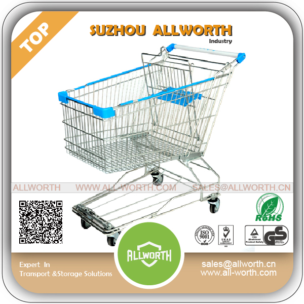 Low Price Square Tube 60L Shopping Cart with Token
