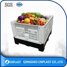 High quality hdpe vented stackable bulk fruit foldable plastic pallet container
