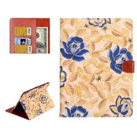 Leaves and Flowers Pattern Smart Cover Leather Case with Card Slots & Wallet & Holder & Sleep / Wake-up Function for iPad Air 2