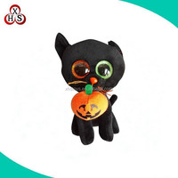 custom cheap cute Halloween inflatable toys black plush cats toys for kids