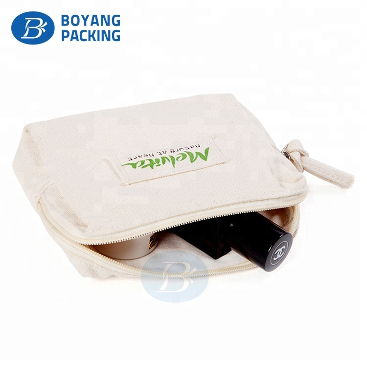 Customized High Quality canvas cosmetic zipper pouch bag wholesale