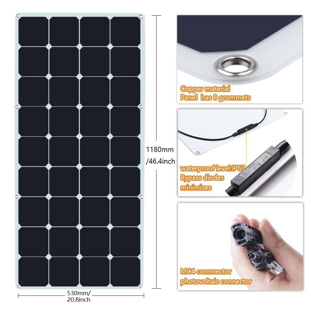 Supply 100w semi-flexible solar pv panels in 12v modules for boat, yacht, car