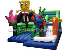 Inflatable spong bob castle slide inflatable bouncer combo F3084