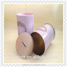 Factory price round money donation saving coin tin can