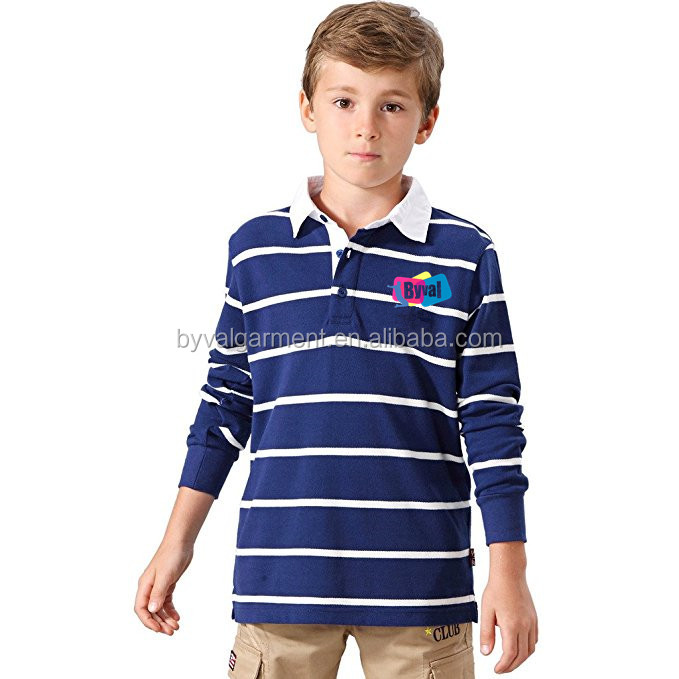Custom Striped Polo Kids Little Boys Casual Yarns Dyed Rugby Polo Shirts Long Sleeve High Quality Uniforms