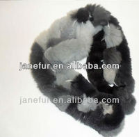 long 100% real genuine rex rabbit fur knitted scarfs