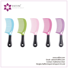 Colorful Hair essential Plastic with PVC handle Hair Comb WET Comb wit soft Grip