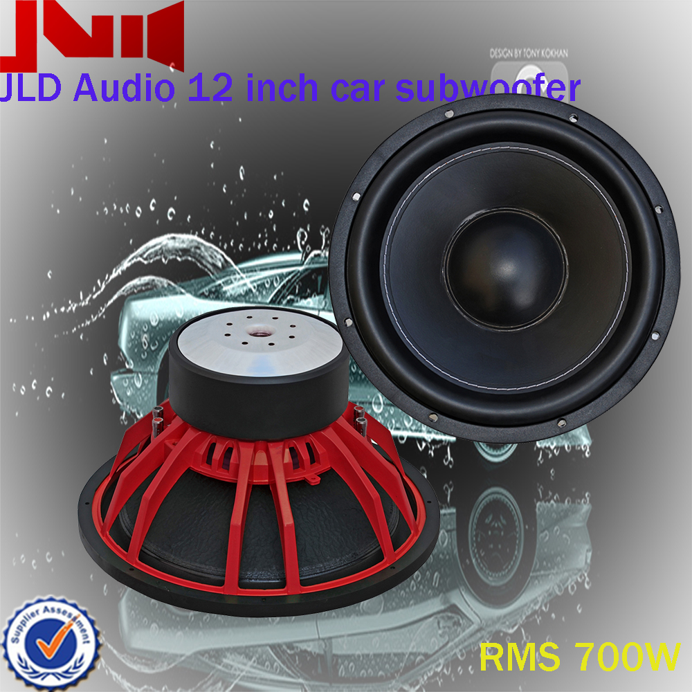 Competition car subwoofer 12 inch JLD Audio with red aluminiujm basket RMS 700w power handing car audio spl