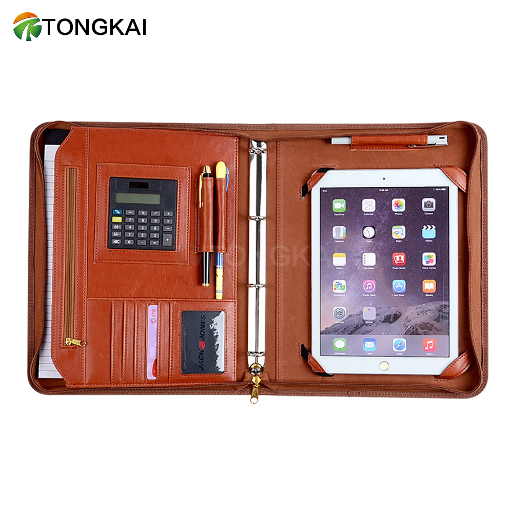 Chinese Supplier PU Leather Binder Portfolio Folder with Power Bank Organizer
