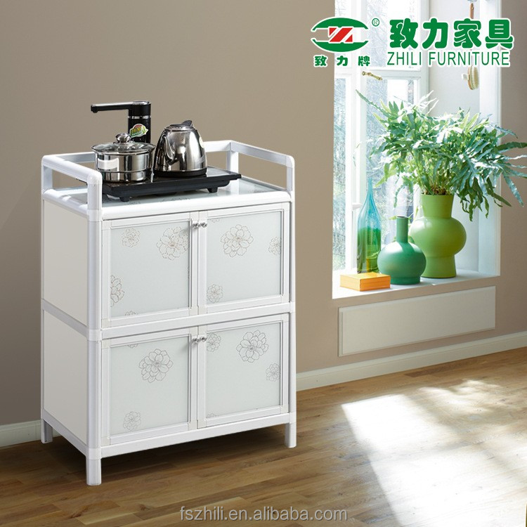 China made 4 doors kitchen storage shelving <strong>cabinet</strong> with eco friendly materials, aluminum frame tempered glass board