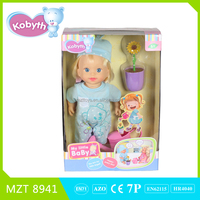 Hot sell 14 inch lovely baby doll(without music)+sunflower+pot two models mixed