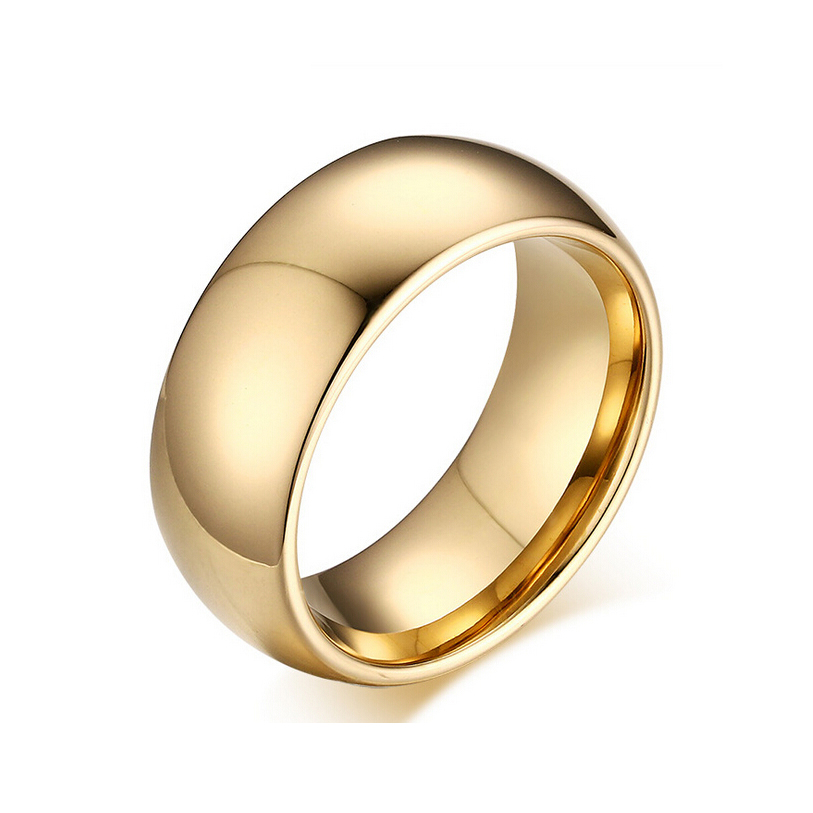 8.0mm Tungsten Carbide Rings For Men Wedding ring Top Quality 18K <strong>Gold</strong> Jewelry
