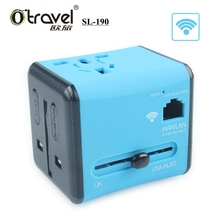 Dual USB universal adapter, universal power adapter travel plug, USB international power adapter with Wifi LAN