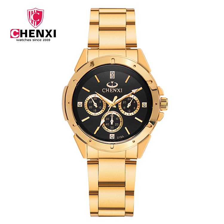 CX 019 A 5 Fashion <strong>Men</strong> And Women Top Brand Luxury Gold Watch Bottom Shell Simple Style Quartz Wristwatch