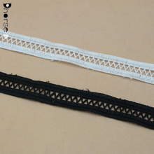 1.5 CM Embroidered water soluble ivory and black sewing net lace trim double sides lace trim