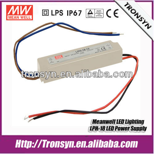 Meanwell 18w 36v waterproof led driver ip67 LPH-18-36 Constant Voltage LED Power Supply