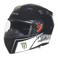 DOT New model flip up helmet WLT-118 BLACK double visors