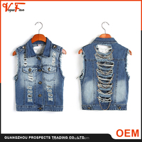 Guangzhou OEM supplier blue short sleeve ripped ladies jeans top design