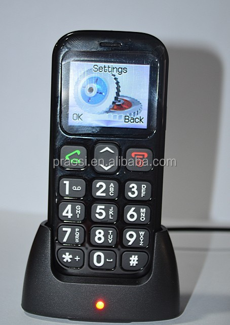 simple senior moible phone big display with sos button, desk charger