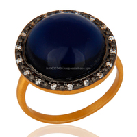 925 Sterling Silver Gold Plated Rings with Blue Corundum Latest Design Jewelry Made In Jaipur, Silver Ring Manufacturer