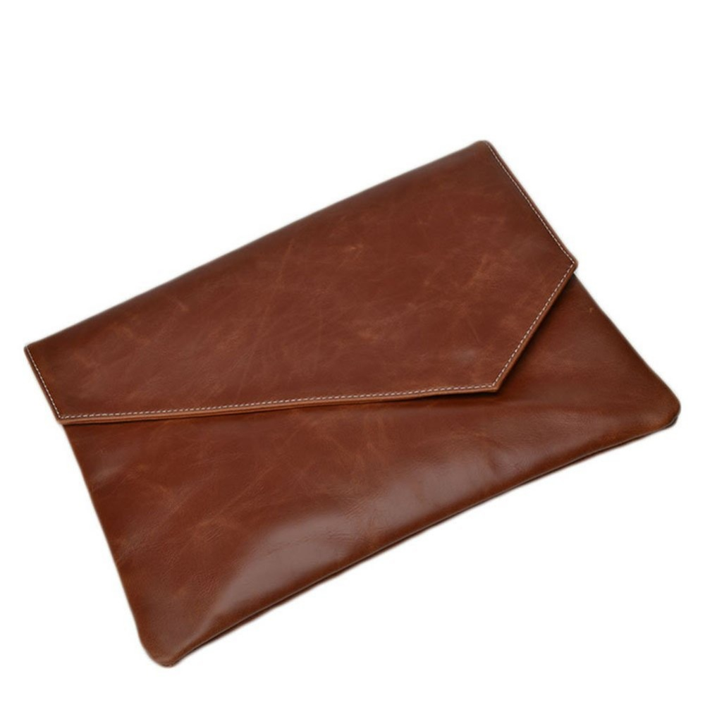 BROWN smoonth grain real leather blank clutch bags with envelope flap men, wholesale clutch bags china manufacture new arrival
