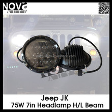 NOVA Newest 75w 7inch Round LED headlight High Beam And Low Beam Round Headlamp 9V-32V Led Driving light for jeep JK and truck