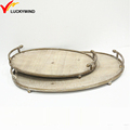 Metal Framed Flat Natural Cheap Oval Wood Serving Tray Set