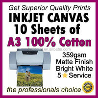 10 sheets A3 Printing 100% Cotton Inkjet Canvas (Real Canvas not paper) 359gsm