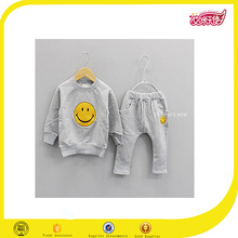 2016 OEM wholesale high quality grey design your own kids 100% cotton fitted tracksuits