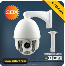 Onvif H.264 Outdoor 1.3 megapixel IR 150M 20x optical zoom ptz ip camera with wiper