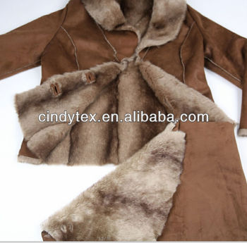 warm & soft brown 100%polyester suede bonded print imitation beaver faux fur fabric