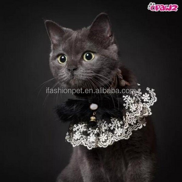 Extra Small Size Adjustable Pet Hair Collar Wholesale Pet Black Lace Dog Collar with Butterfly