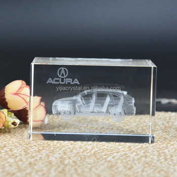 Car Company Souvenir 3D Laser Etched K9 Crystal Glass Block for Wholesale