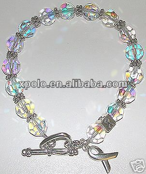 Wholesale fashional silver plated Autism awareness ribbon charm bracelet with clear beads/clear beaded handmade bracelet jewelry