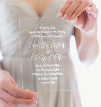 Custom hot sale acrylic laser cut wedding invitation card