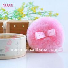 luxurious plush powder puff with satin ribbon