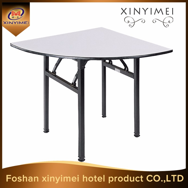 Irregular quater round dining table PVC hotel table