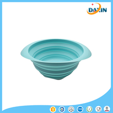 Multifunction Folded Strainer Bowl Food Grade Platinum Silicone Draining Bowl