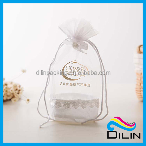 satin and organza splicing round bottom wedding candy favor bags