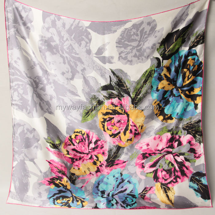 plain new arrival satin square silk scarf