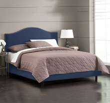 Fabric upholstered modern wooden bed frame